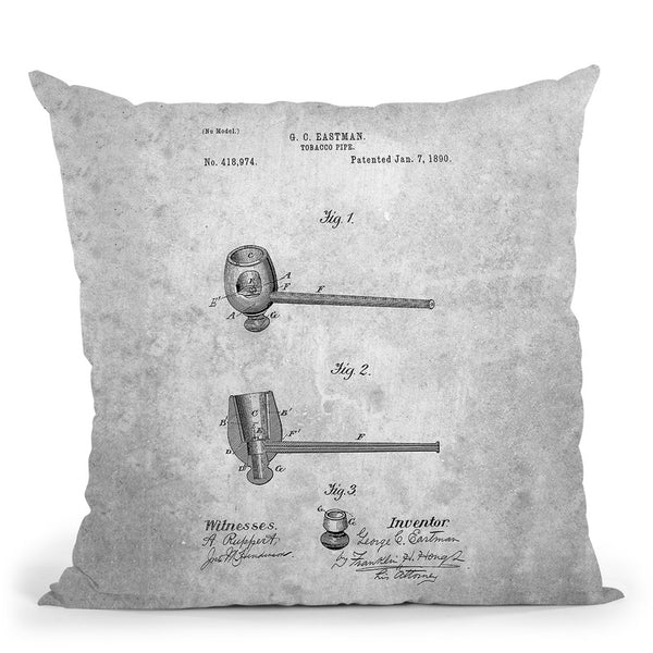 Tobacco Pipe Blueprint Throw Pillow By Cole Borders - All About Vibe