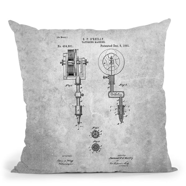Tattooing Machine Blueprint Throw Pillow By Cole Borders - All About Vibe