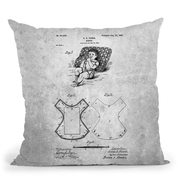 Diaper Blueprint Throw Pillow By Cole Borders - All About Vibe