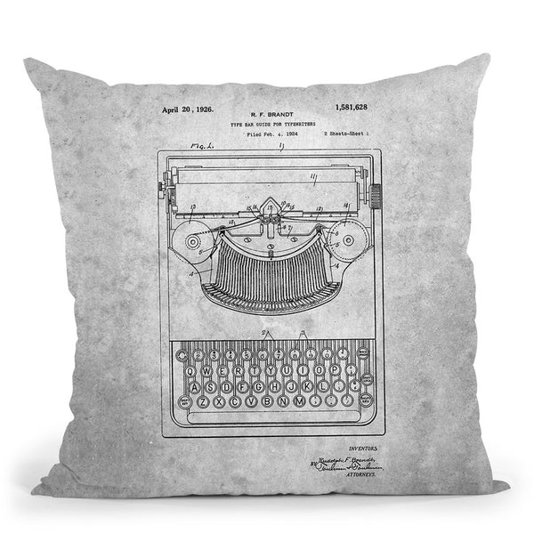 Typewriter Blueprint I Throw Pillow By Cole Borders - All About Vibe
