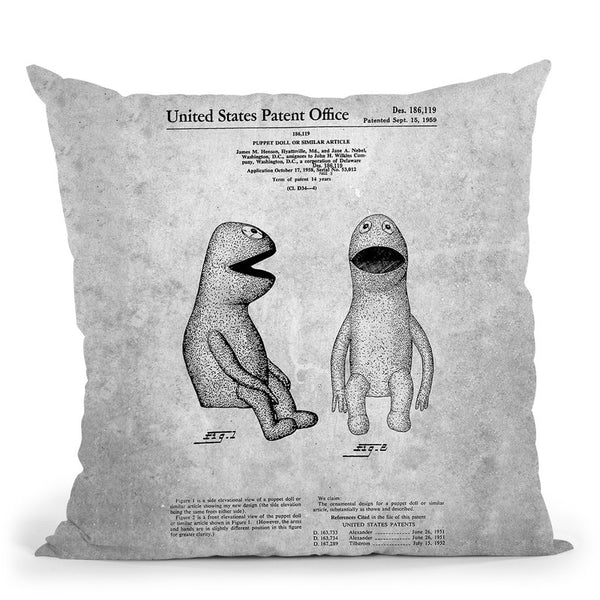 Kermit Blueprint Throw Pillow By Cole Borders - All About Vibe
