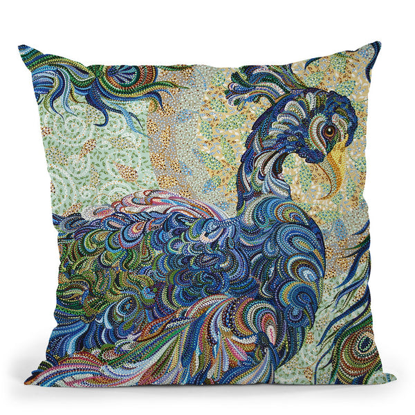Peacock 2 Throw Pillow By Erika Pochybova - All About Vibe