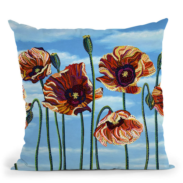 Poppies Throw Pillow By Erika Pochybova - All About Vibe