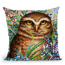 Burrowing Owl In Flowers Throw Pillow By Erika Pochybova - All About Vibe