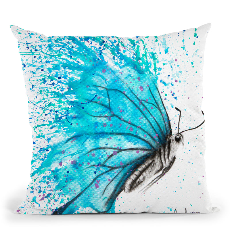 Aqua Butterfly Throw Pillow By Ashvin Harrison