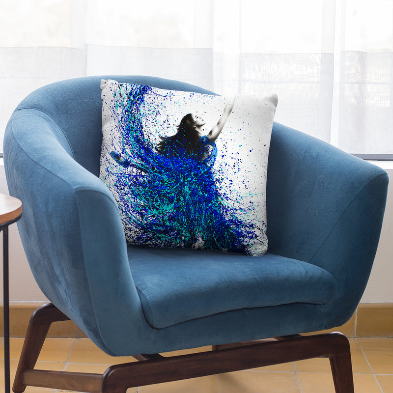 Teal Wave Dance Throw Pillow By Ashvin Harrison