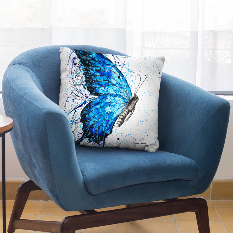 Blue Butterfly Rains Throw Pillow By Ashvin Harrison