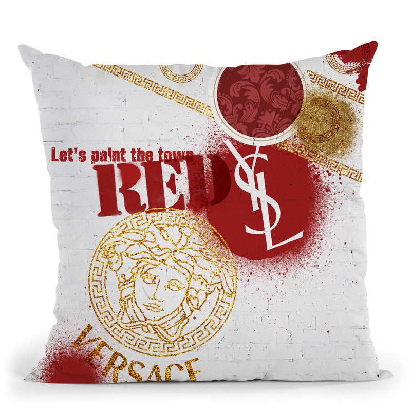 Fashion Stencil Red Throw Pillow By Alexandre Venancio