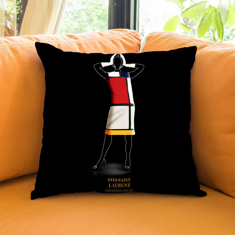 Iconic Dresses Ysl I Throw Pillow By Alexandre Venancio