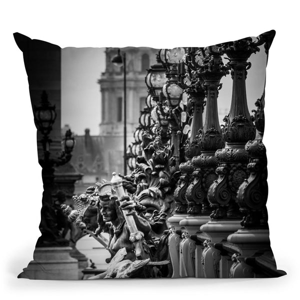 Paris In Black And White Composition Vi Throw Pillow By Alexandre Venancio