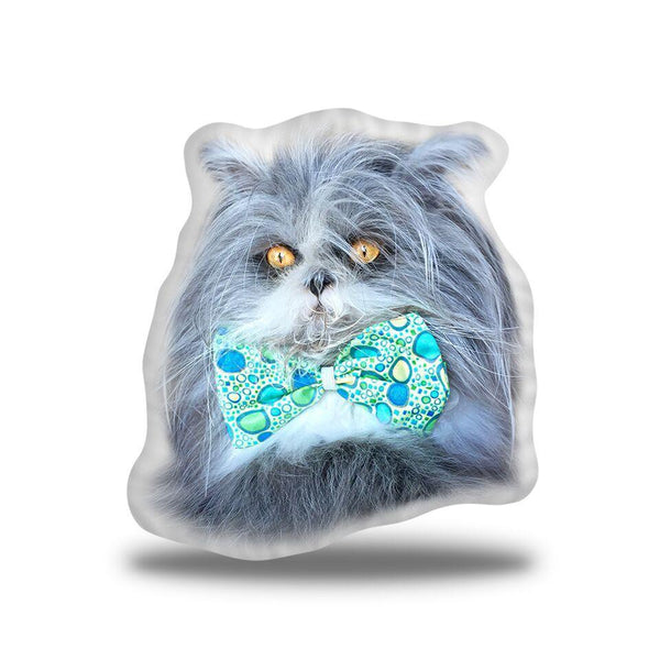 Atchoum Blue Green Bow Laying Throw Pillow