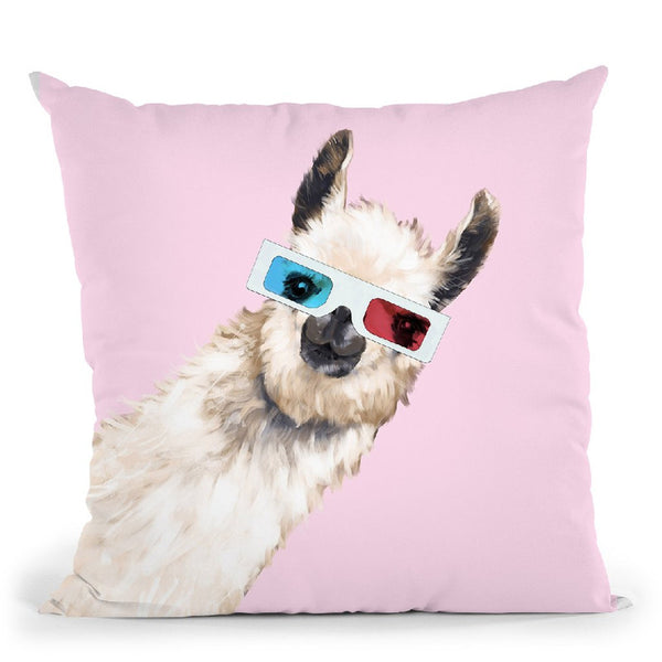 3D Llama in Pink Throw Pillow by Big Nose Work