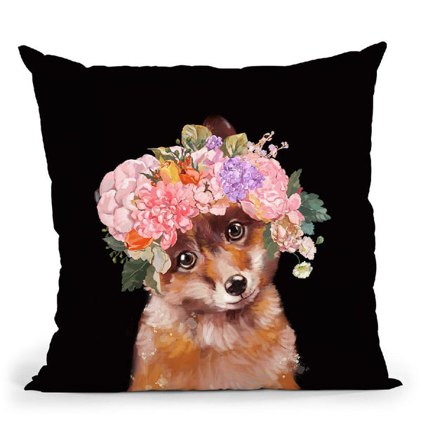 Baby Fox with Flower Crown in Black Throw Pillow by Big Nose Work