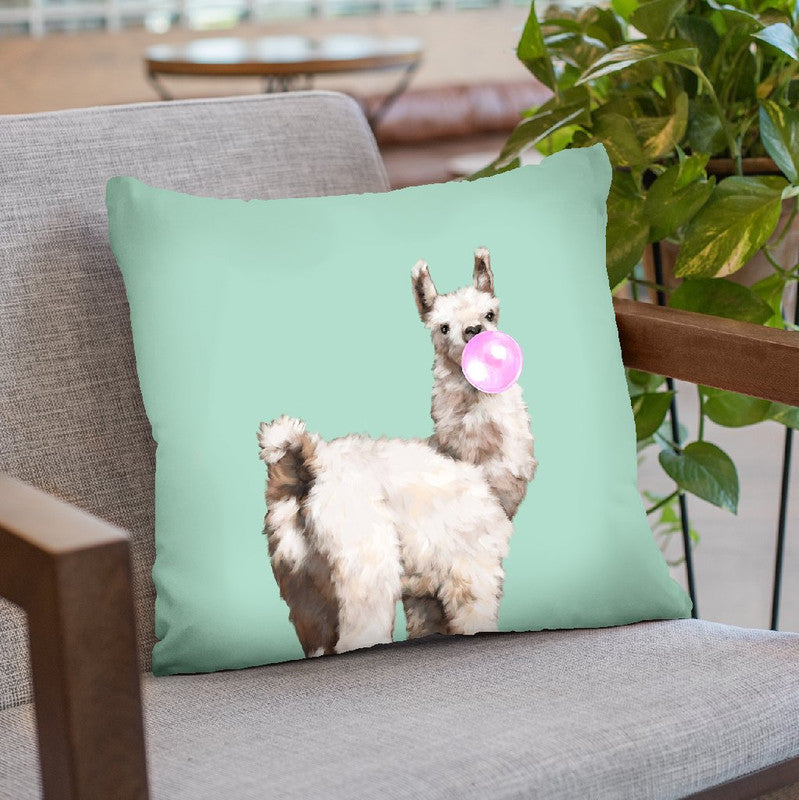 Baby Llama Blowing Bubble Gum Throw Pillow by Big Nose Work
