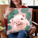 Baby Pig with Cactus in Pink Throw Pillow by Big Nose Work