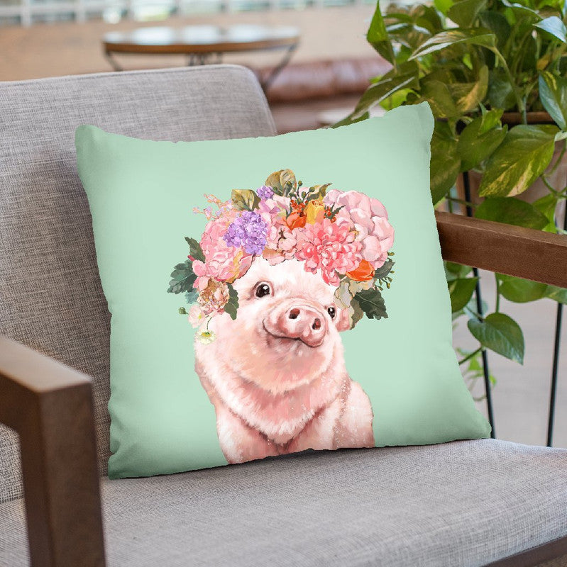 baby Pig with Flower Crown in Green Throw Pillow by Big Nose Work