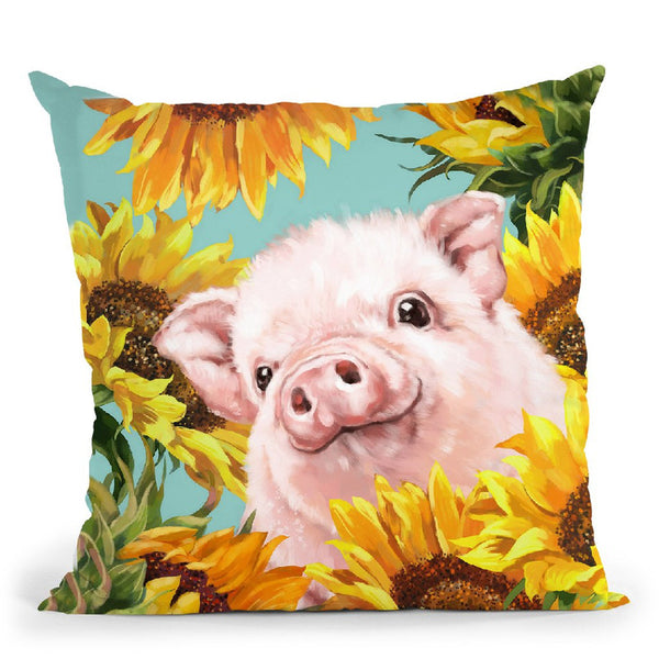 Baby Pig with Sunflowers Throw Pillow by Big Nose Work