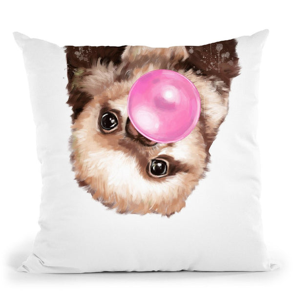 Baby Sloth with Bubble Gum Throw Pillow by Big Nose Work