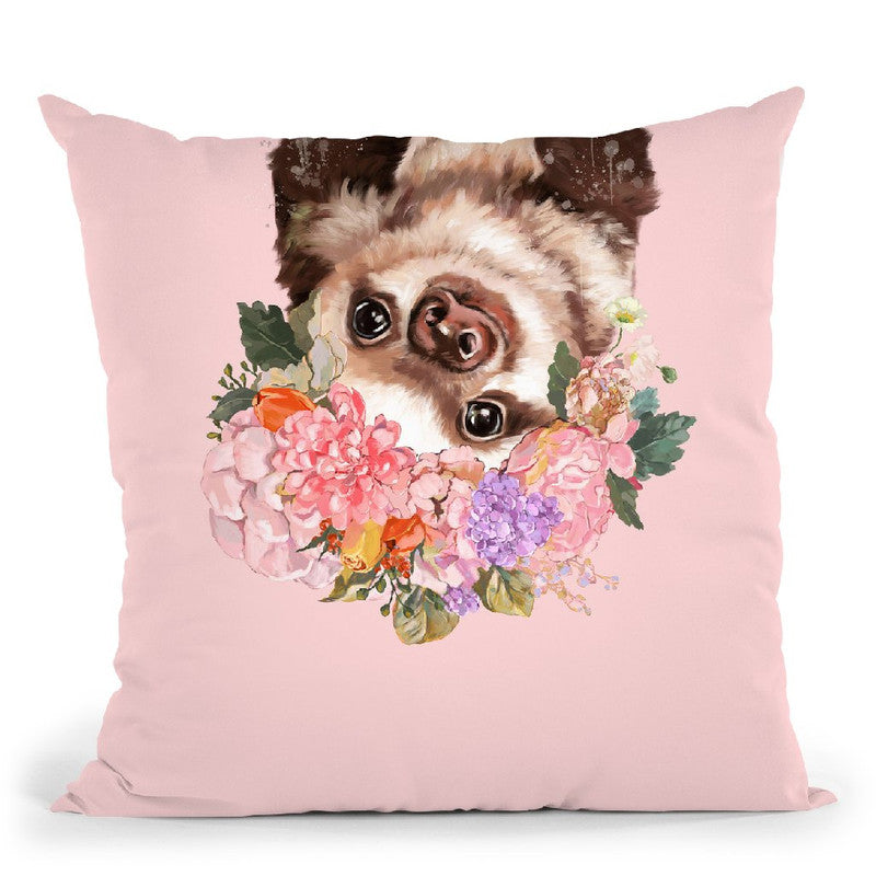 baby Sloth with Flower Crown in Green Throw Pillow by Big Nose Work