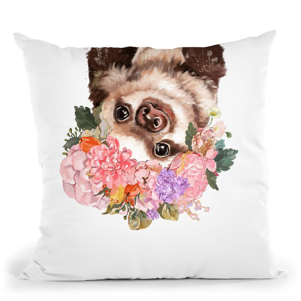 Baby Sloth with Flower Crown Throw Pillow by Big Nose Work