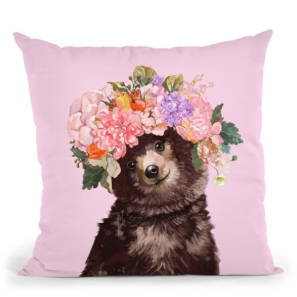 Baby Bear with Flower Crown in Pink2 Throw Pillow by Big Nose Work