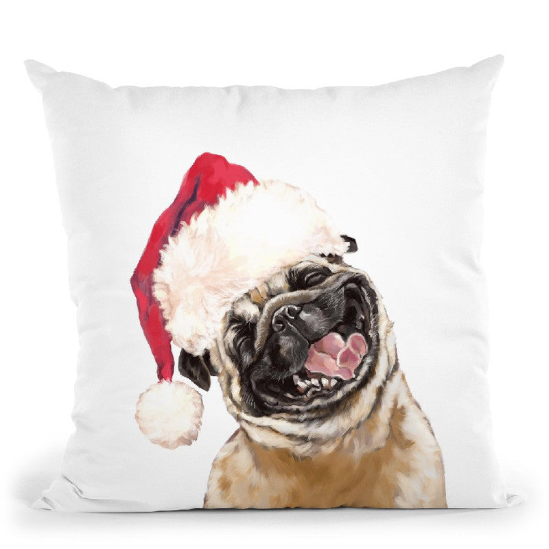 Christmas Laughing Pug Throw Pillow by Big Nose Work