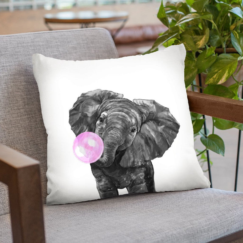 Elephant with Bubble Gum Black and White Throw Pillow by Big Nose Work