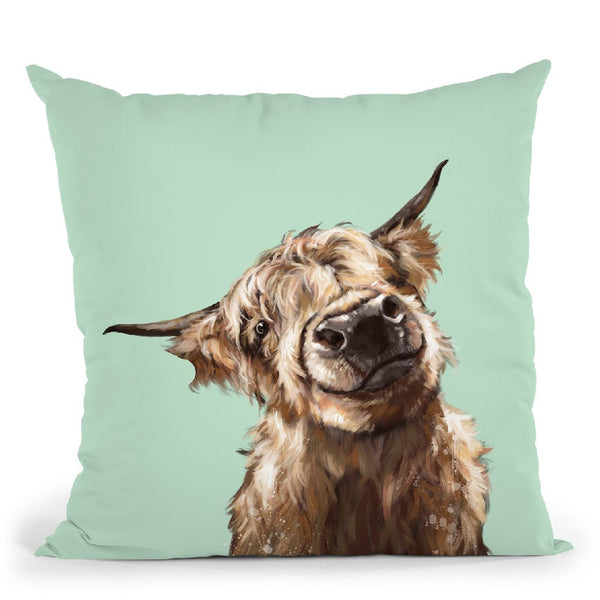 Highland Cow in Green Throw Pillow by Big Nose Work