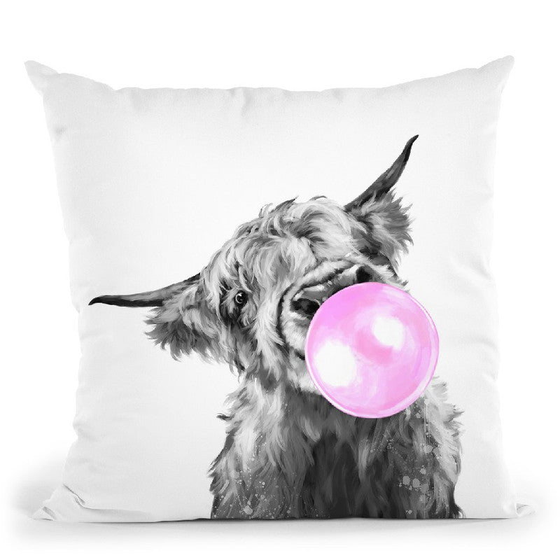 Highland Cow with Bubble Gum Black and White Throw Pillow by Big Nose Work
