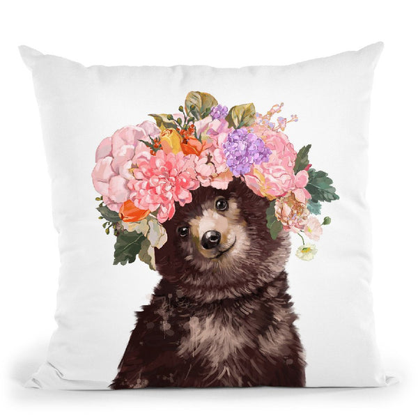 Baby Bear with Flower Crown Throw Pillow by Big Nose Work