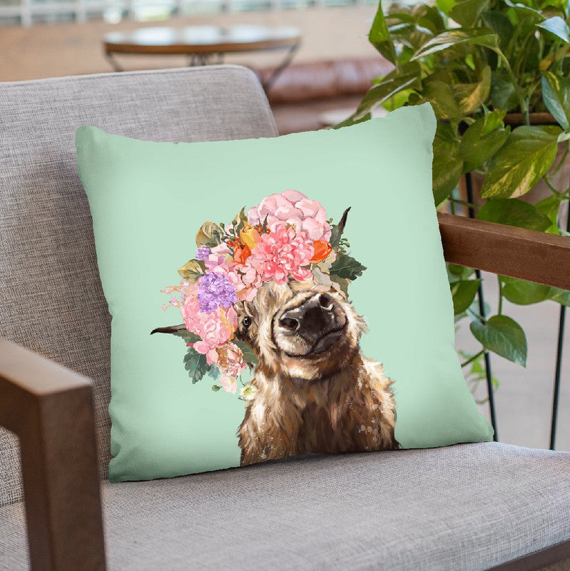 Highland Cow with Flower Crown in Green Throw Pillow by Big Nose Work