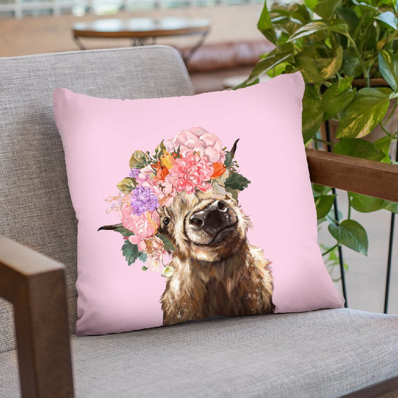 Highland Cow with Flower Crown in Pink Throw Pillow by Big Nose Work