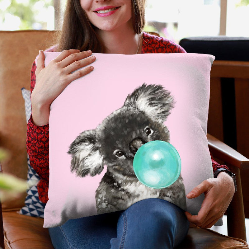 Koala Bear with Bubble Gum in Pink Throw Pillow by Big Nose Work