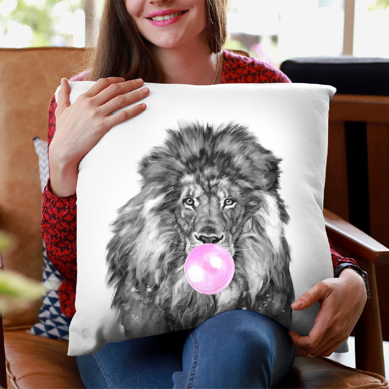 Lion with Bubble Gum Black and White Throw Pillow by Big Nose Work