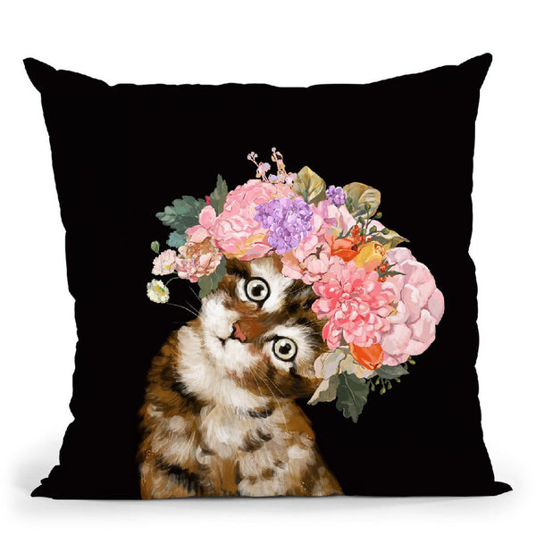 Baby Cat with Flower Crown in Black Throw Pillow by Big Nose Work