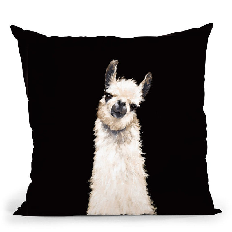Llama in Black Throw Pillow by Big Nose Work