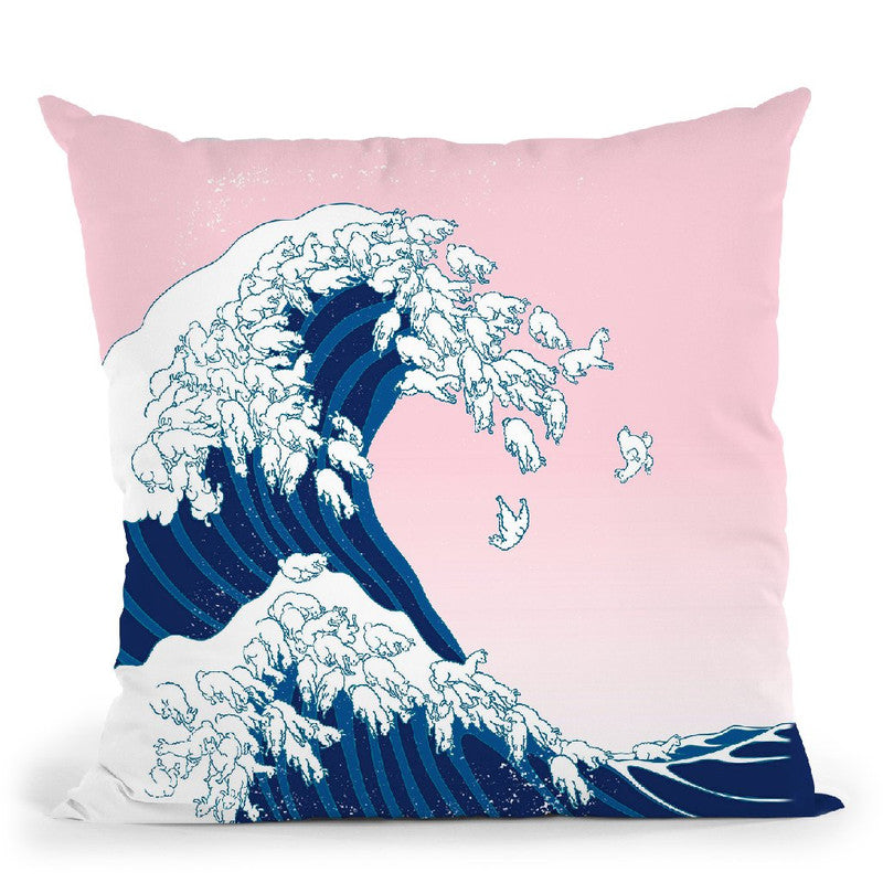 Llama Waves in Pink Throw Pillow by Big Nose Work
