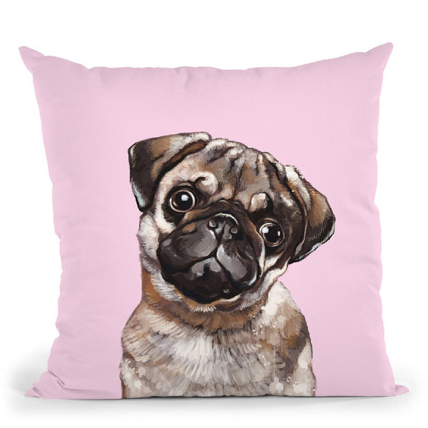 Melanconic Pug in Pink Throw Pillow by Big Nose Work