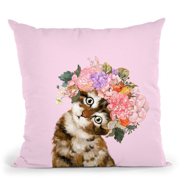 Baby Cat with Flower Crown in Pink Throw Pillow by Big Nose Work