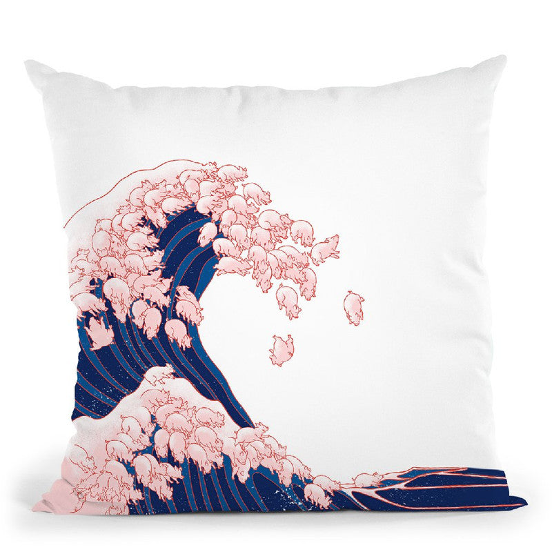 Pink Pigs Waves in White Throw Pillow by Big Nose Work