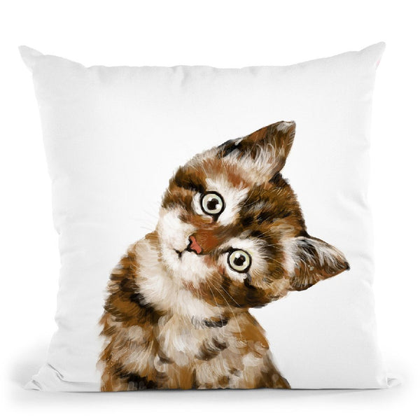 Baby Cat Throw Pillow by Big Nose Work
