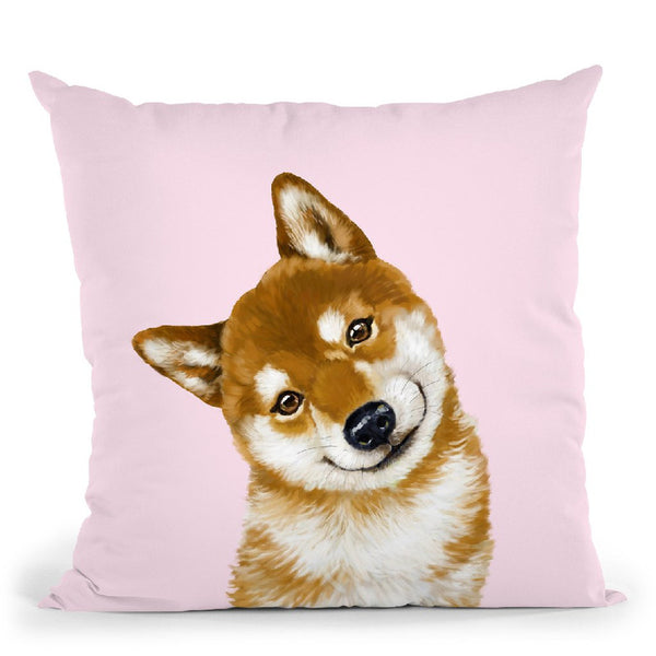 Shiba Inu in Pink Throw Pillow by Big Nose Work