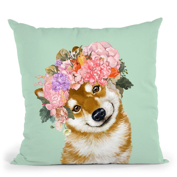 Shiba Inu with Flower Crown in Green Throw Pillow by Big Nose Work