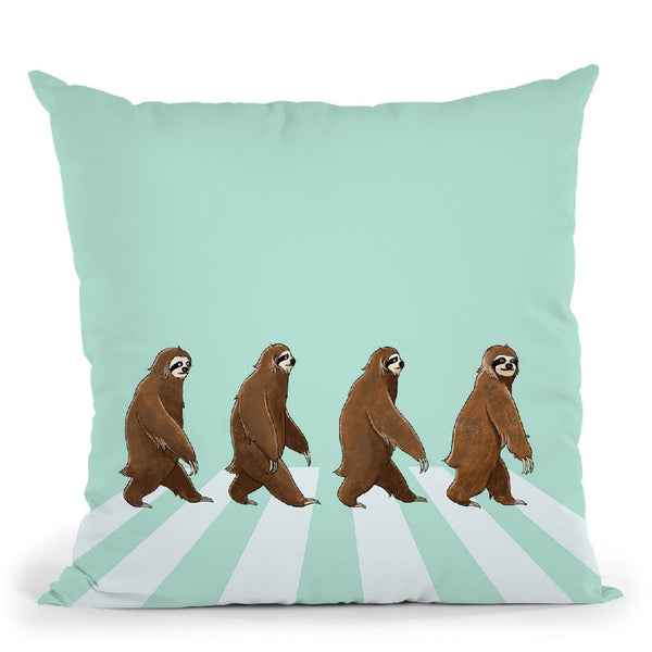 Sloth the Abbey Road Throw Pillow by Big Nose Work