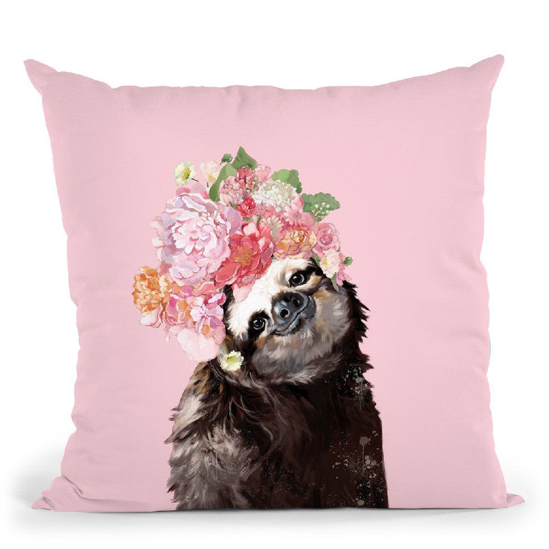 Sloth with Flower Crown in Pink Throw Pillow by Big Nose Work