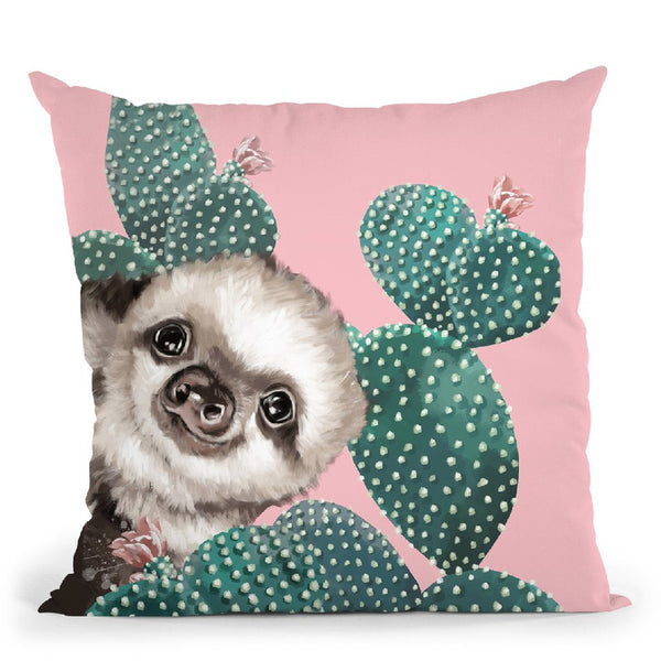 Sneaky Baby Sloth with Cactus Throw Pillow by Big Nose Work