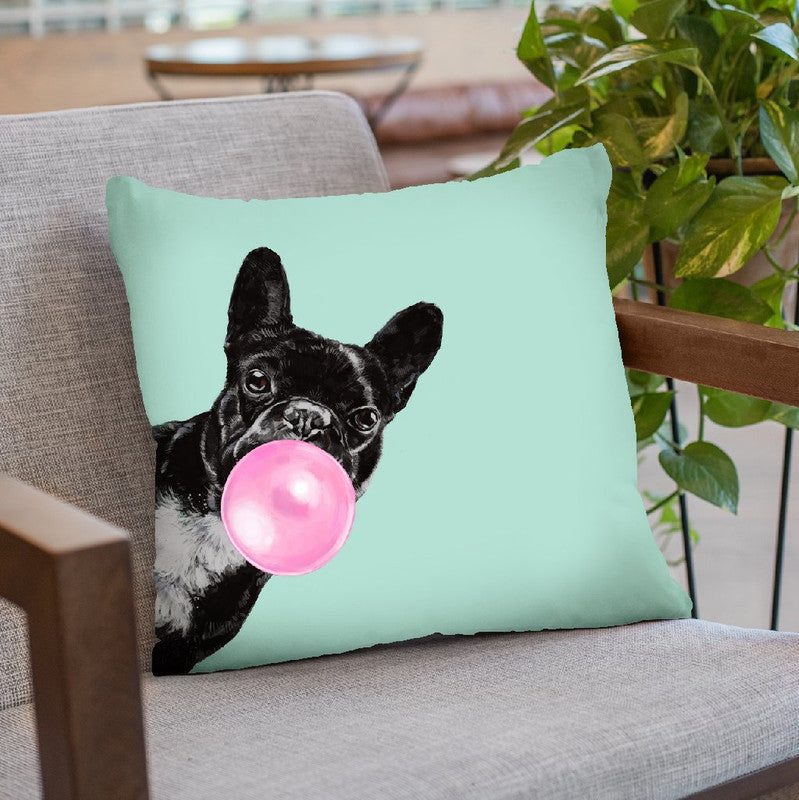 Sneaky Bulldog with Bubble Gum in Green Throw Pillow by Big Nose Work