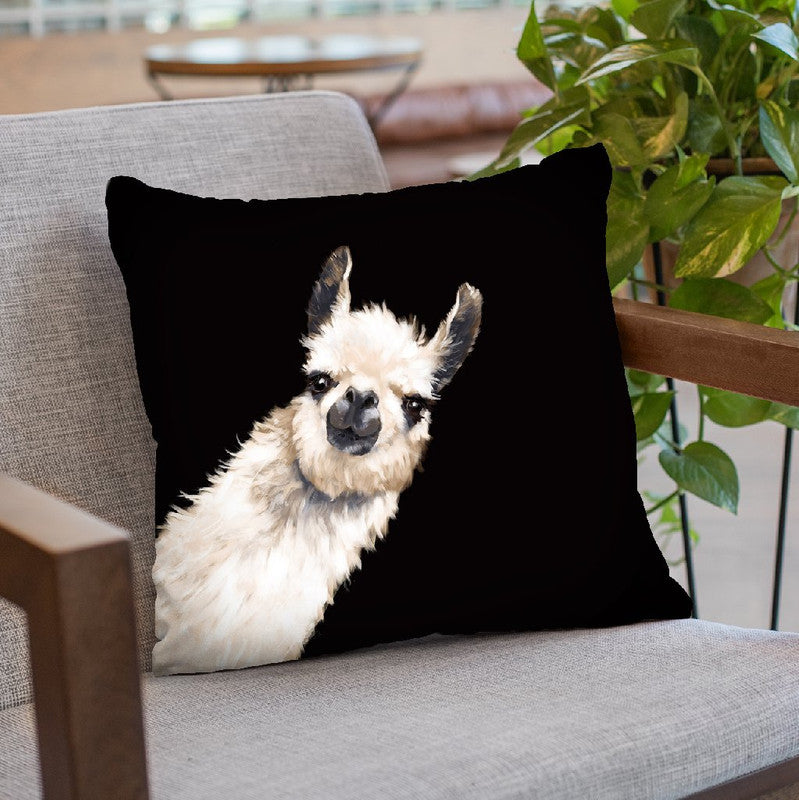 Sneaky Llama Black Throw Pillow by Big Nose Work