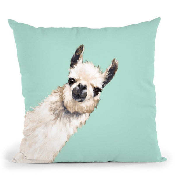 Sneaky Llama Green Throw Pillow by Big Nose Work