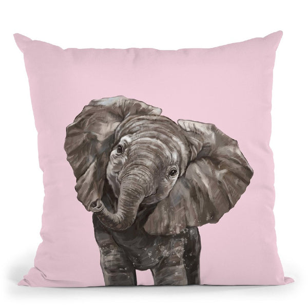 Baby Elepahnt in Pink Throw Pillow by Big Nose Work